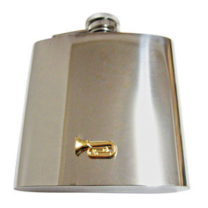 Gold Toned Tuba Music Instrument Large Flask